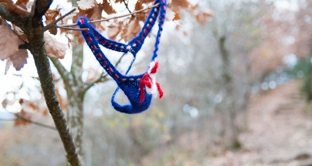 Knitting a mohair thong, to make this world more chill